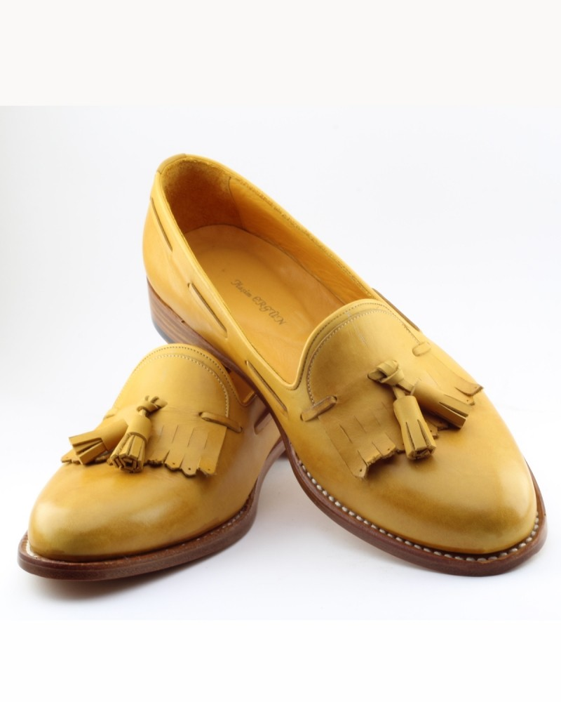 Gold Handmade Calf Leather Bespoke Shoes by Gentwith.com with Free Shipping