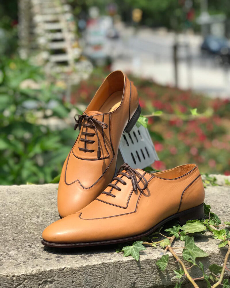 Gold Genuine Leather Oxfords by GentWith.com with Free Worldwide Shipping