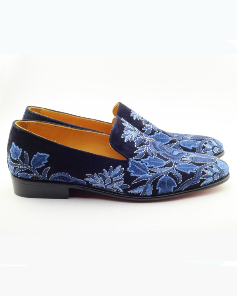 Navy Blue Handmade Calf Leather Bespoke Shoes by Gentwith.com with Free Shipping