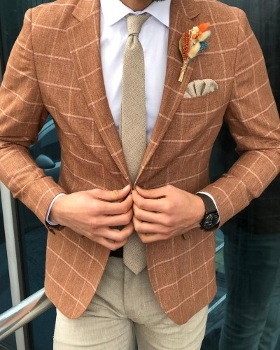 Camel Slim Fit Blazer by Gentwith.com with Free Shipping