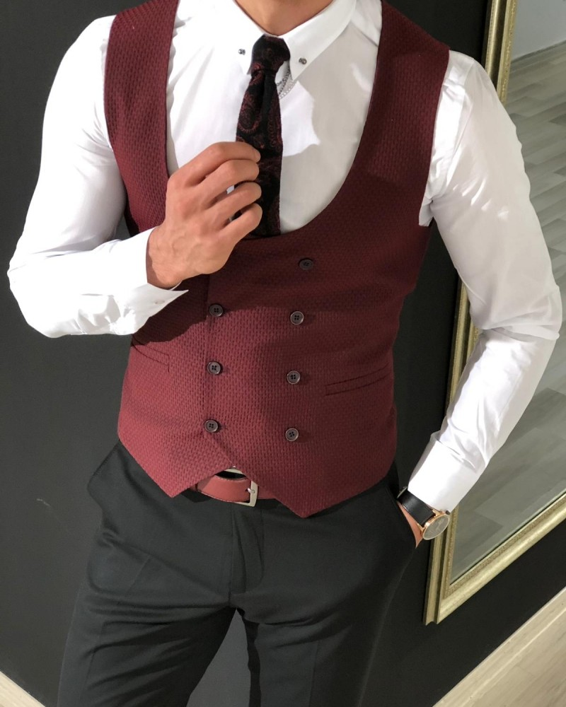 Claret Red Slim Fit Vest by Gentwith.com with Free Shipping
