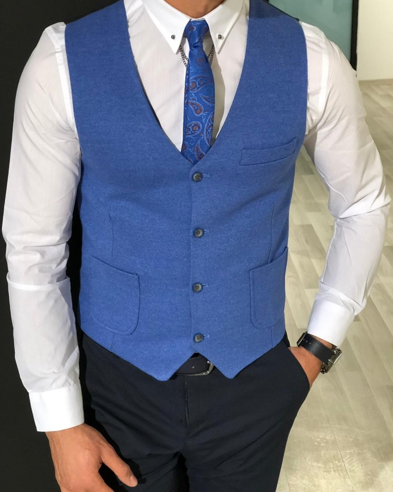 Blue Slim Fit Vest by Gentwith.com with Free Shipping