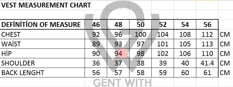 Men's Vest Sizing Chart by Gentwith.com with Free Shipping