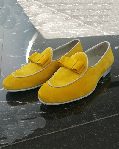 Lemon Handmade Suede Calf Leather Bespoke Shoes by Gentwith.com with Free Shipping