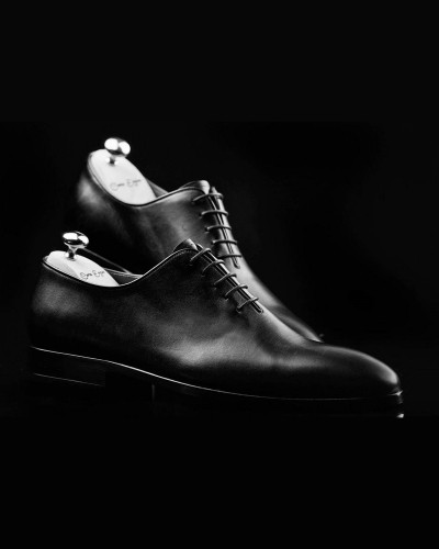 Black Handmade Calf Leather Bespoke Shoes by Gentwith.com with Free Shipping