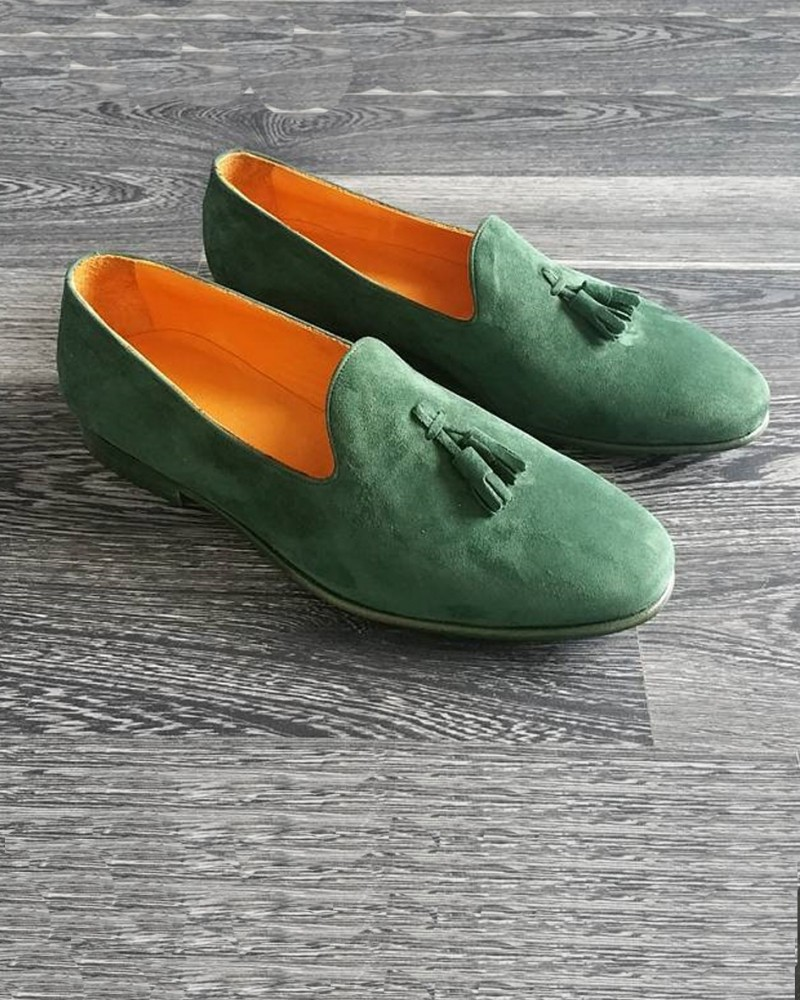 Green Handmade Calf Leather Bespoke Shoes by Gentwith.com with Free Shipping