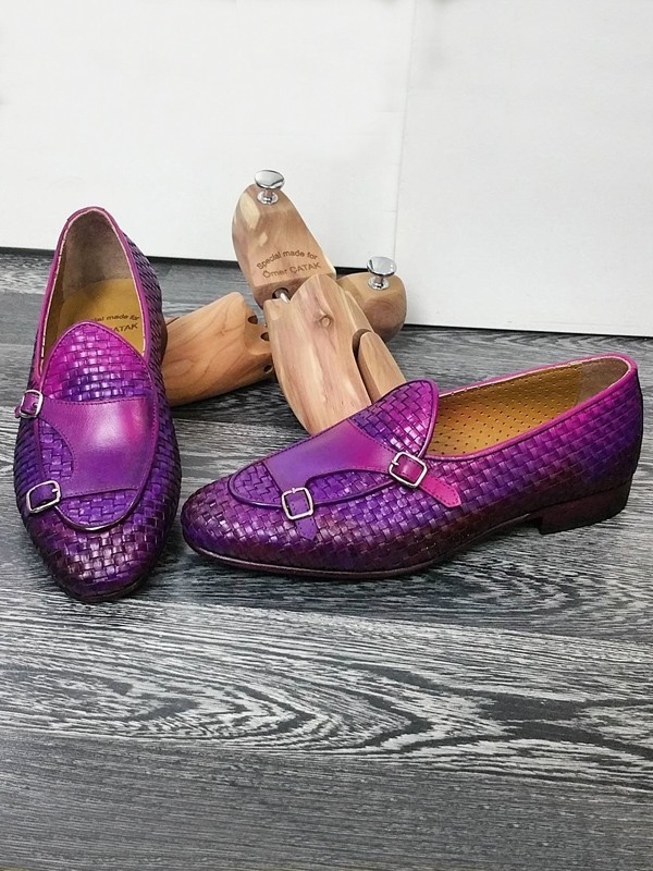 Purple Handmade Calf Leather Bespoke Shoes by Gentwith.com with Free Shipping