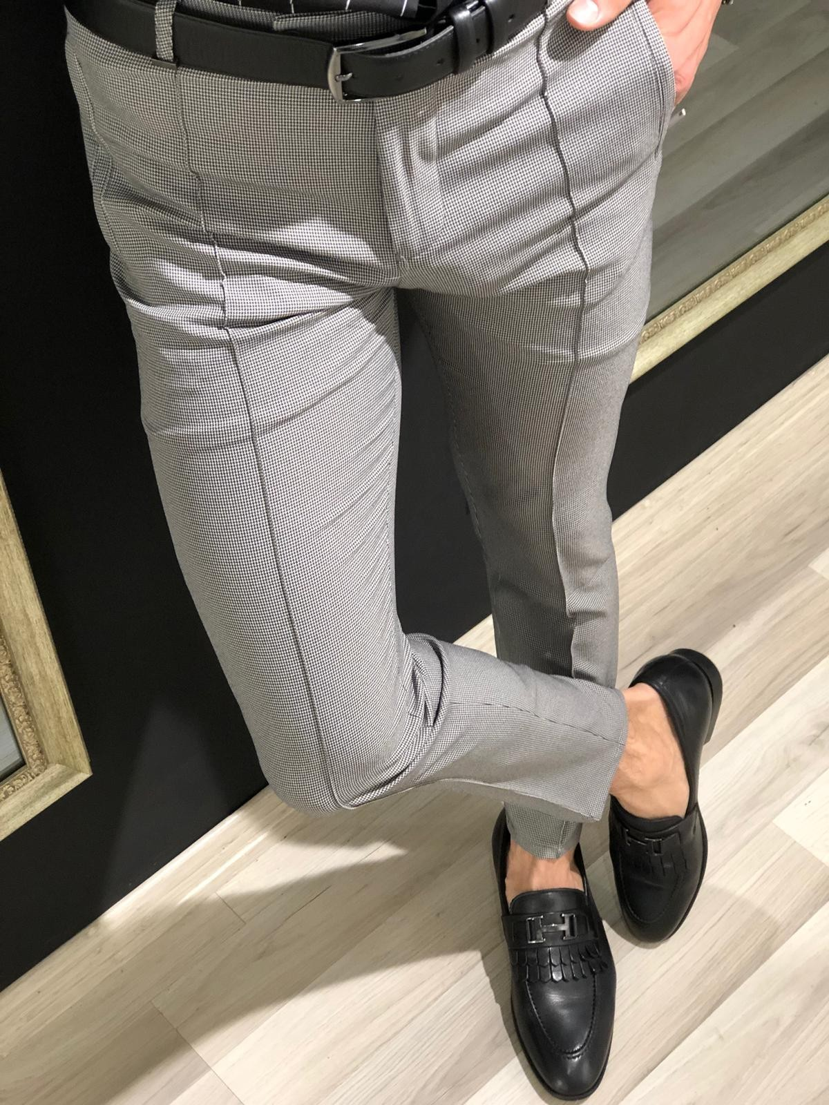 Gray Slim Fit Patterned Pants by Gentwith.com with Free Shipping