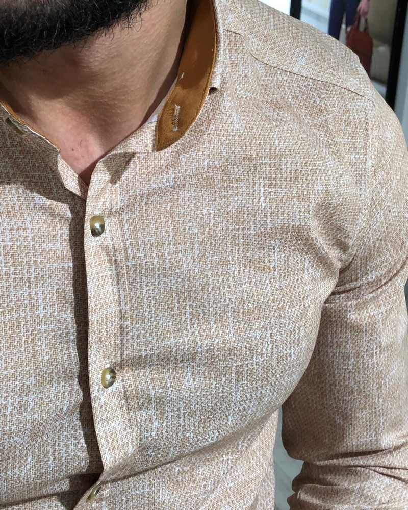 Beige Slim Fit Shirt by Gentwith.com with Free Shipping