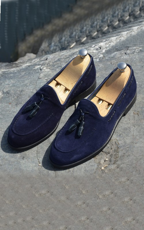 Navy Blue Suede Tassel Loafer by Gentwith.com with Free Shipping