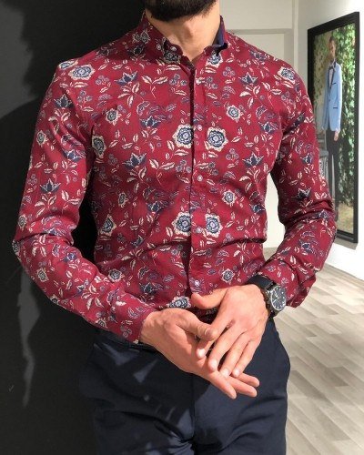 Claret Red Slim Fit Floral Shirt by Gentwith.com with Free Shipping