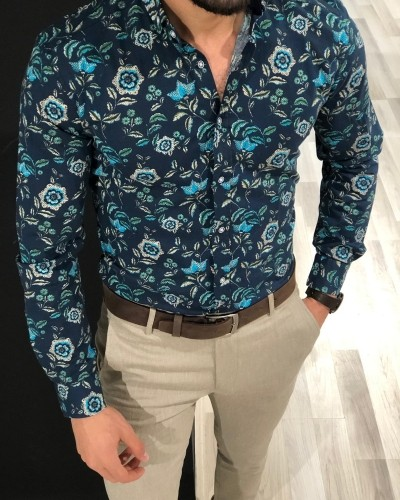 Turquoise Slim Fit Floral Shirt by Gentwith.com with Free Shipping