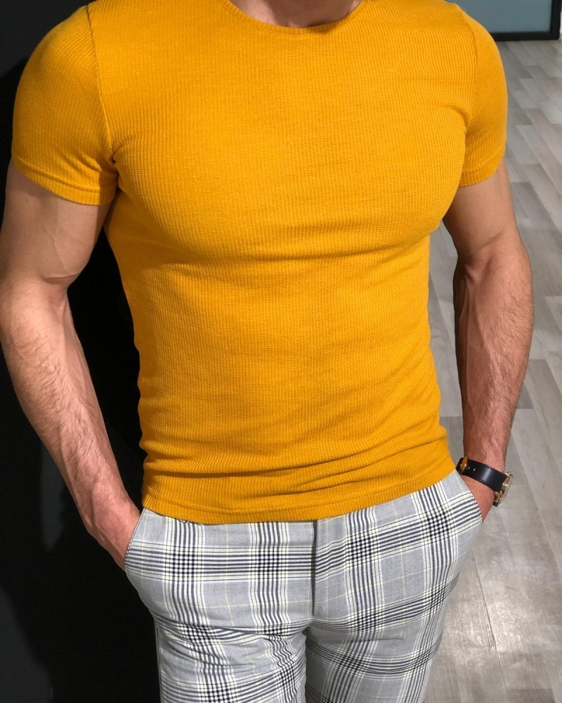 Yellow Slim Fit Jacquard T-Shirt by Gentwith.com