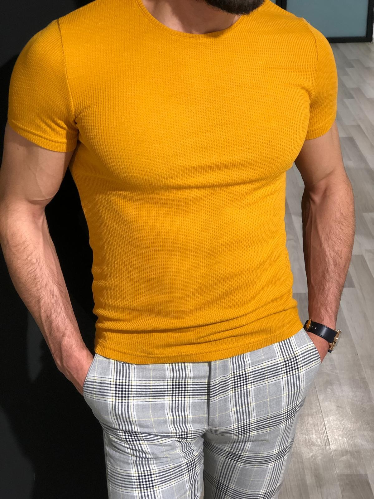Buy Yellow Slim Fit Jacquard T-shirt by Gentwith.com with ...