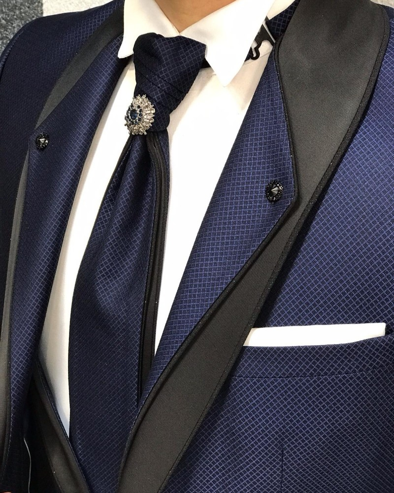 Navy Blue Groom Suit by Gentwith.com with Free Shipping