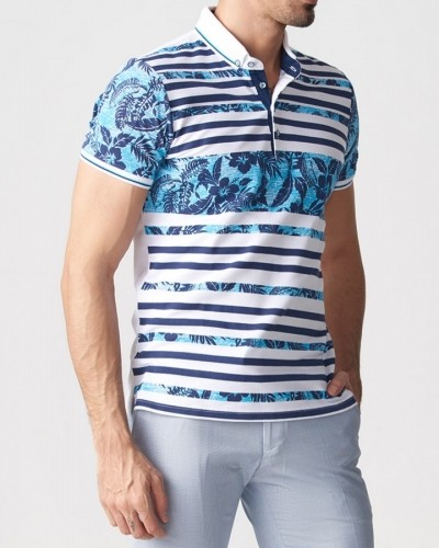 Turquoise Slim Fit Collar T-shirt by Gentwith.com with Free Shipping