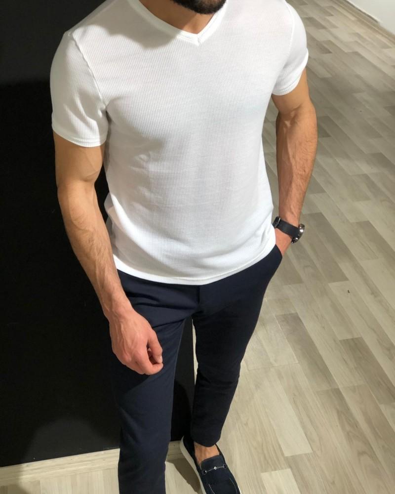 White Slim Fit Jacquard T-Shirt by Gentwith.com