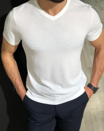 White Slim Fit Jacquard T-Shirt by Gentwith.com