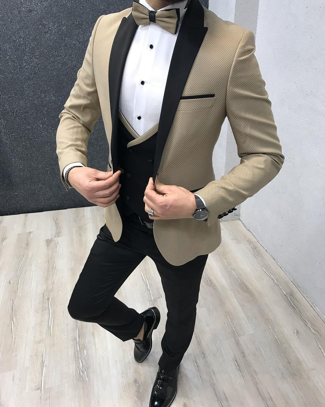 Gold Slim Fit Tuxedo by Gentwith.com with Free Shipping