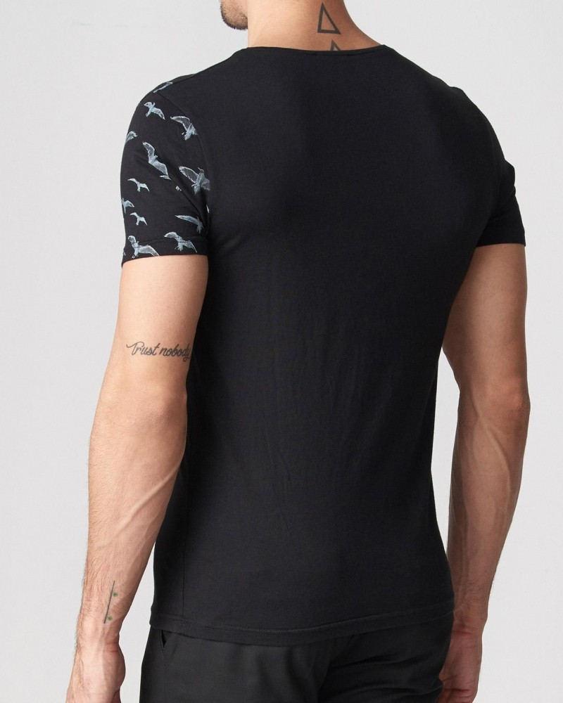 Black Slim Fit Printed T-Shirt by Gentwith.com with Free Shipping