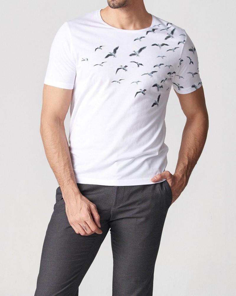 White Slim Fit Printed T-Shirt by Gentwith.com with Free Shipping