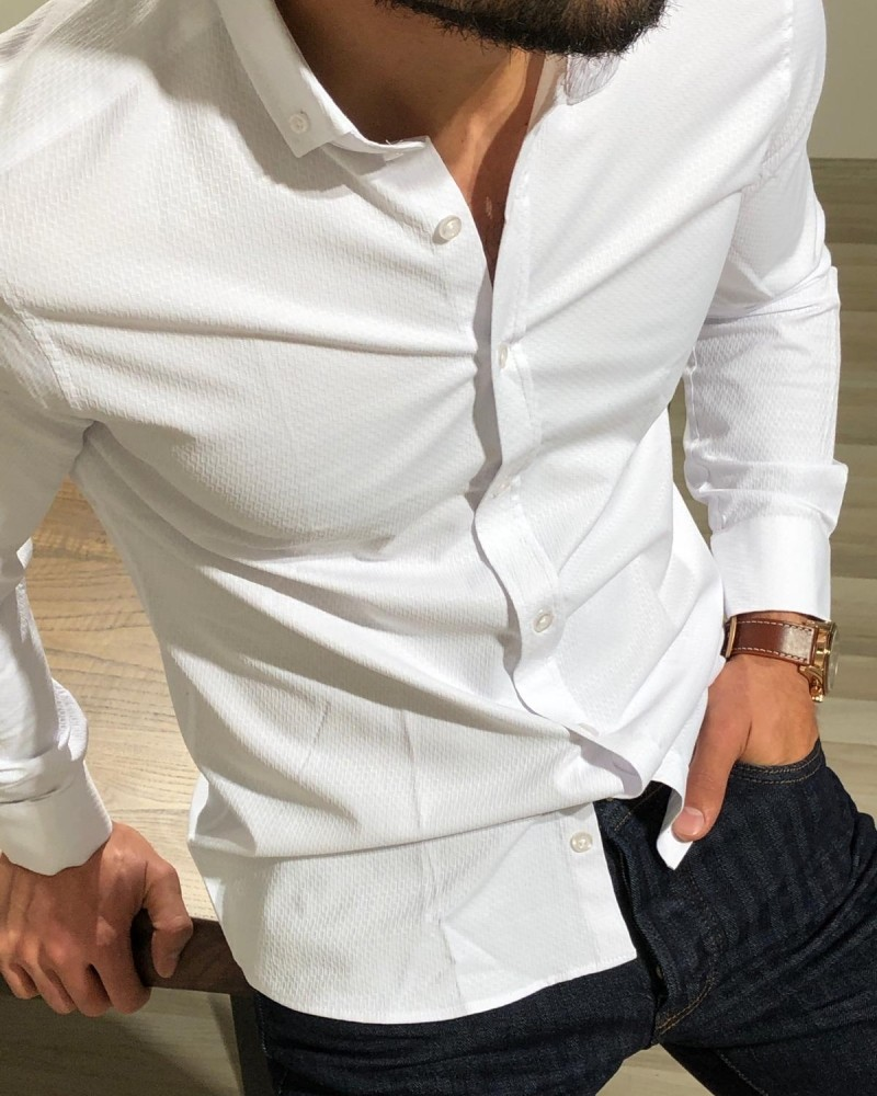 White Slim Fit Patterned Shirt by Gentwith.com with Free Shipping