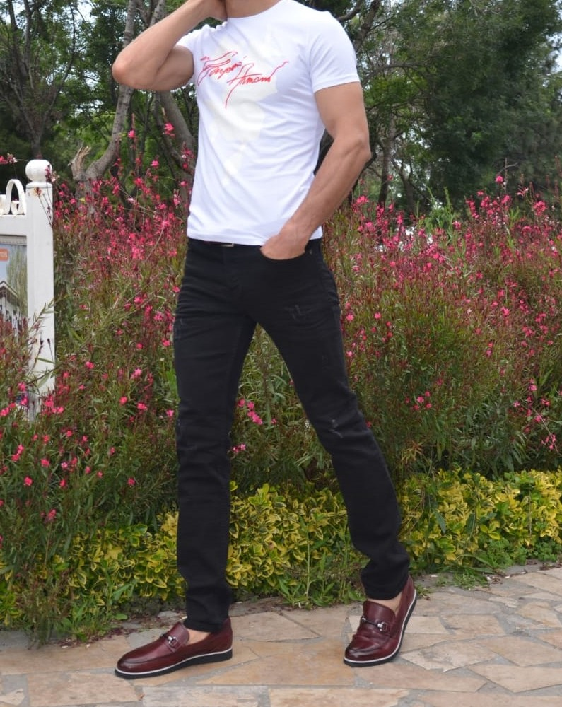 White Slim Fit Printed Tshirt by Gentwith.com with Free Shipping