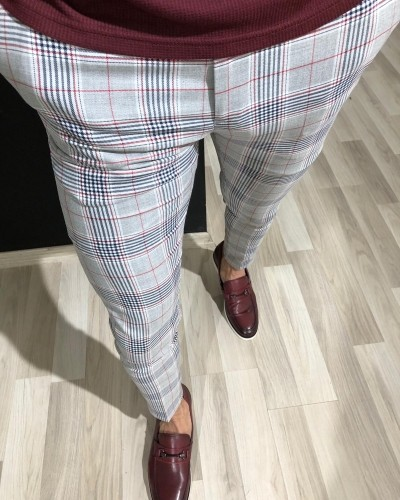 Claret Red Slim Fit Pants by Gentwith.com with Free Shipping