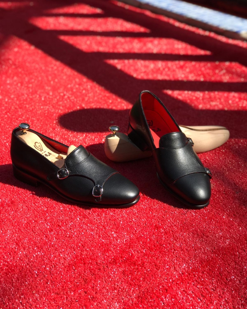 Black Leather Double Monk Strap Loafers by GentWith.com with Free Worldwide Shipping