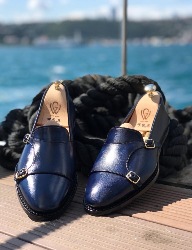 Blue Leather Double Monk Strap Loafers by GentWith.com with Free Worldwide Shipping