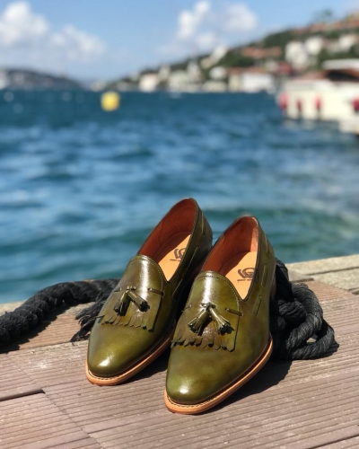 Green Kiltie Tassel Loafers by GentWith.com with Free Worldwide Shipping