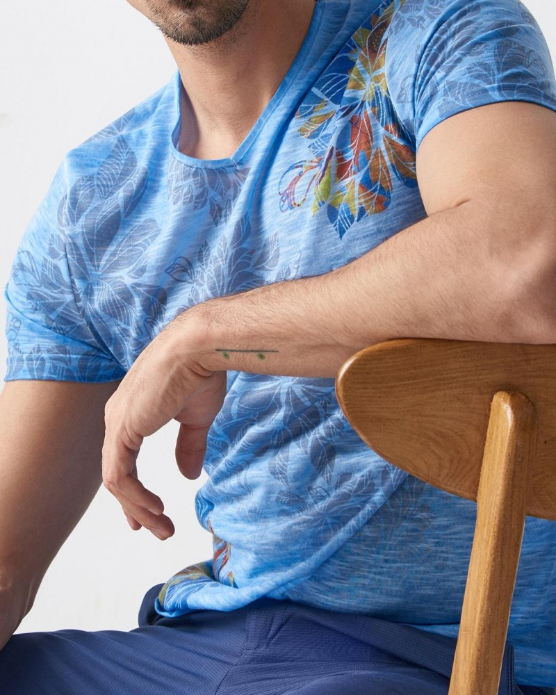 Blue Slim Fit Printed T-Shirt by Gentwith.com with Free Shipping