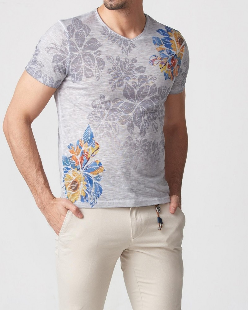 Gray Slim Fit Printed T-Shirt by Gentwith.com with Free Shipping
