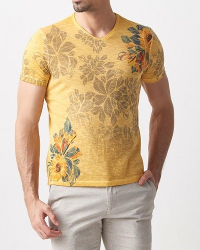 Yellow Slim Fit Printed T-Shirt by Gentwith.com with Free Shipping