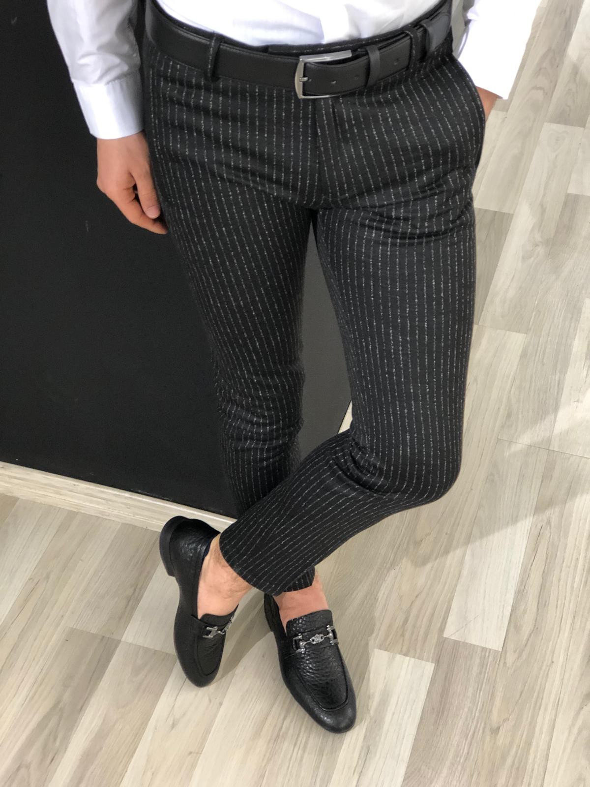 Black Slim Fit Striped Pants by Gentwith.com with Free Shipping