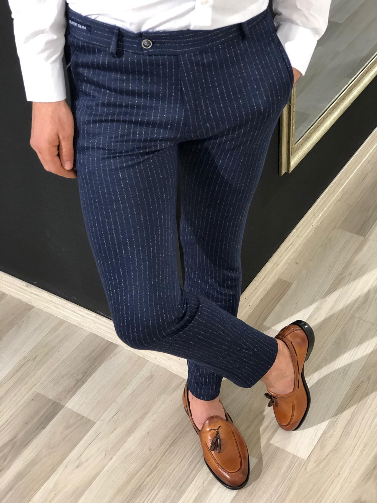 Navy Blue Slim Fit Striped Pants by Gentwith.com with Free Shipping