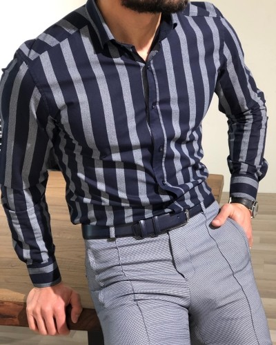 Navy Blue Slim Fit Striped Shirt by Gentwith.com with Free Shipping