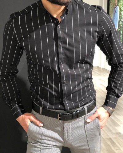 Black Slim Fit Striped Shirt by Gentwith.com with Free Shipping