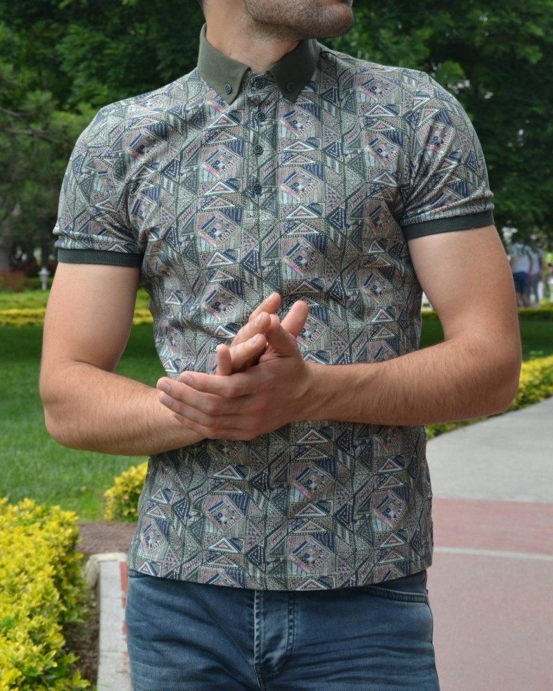 Khaki Slim Fit Patterned Tshirt by Gentwith.com with Free Shipping
