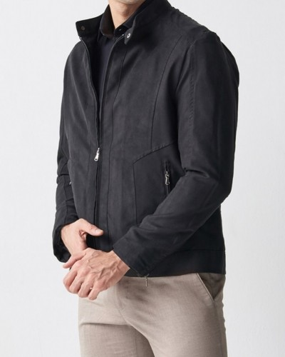 Black Slim Fit Suede Jacket by Gentwith.com with Free Shipping