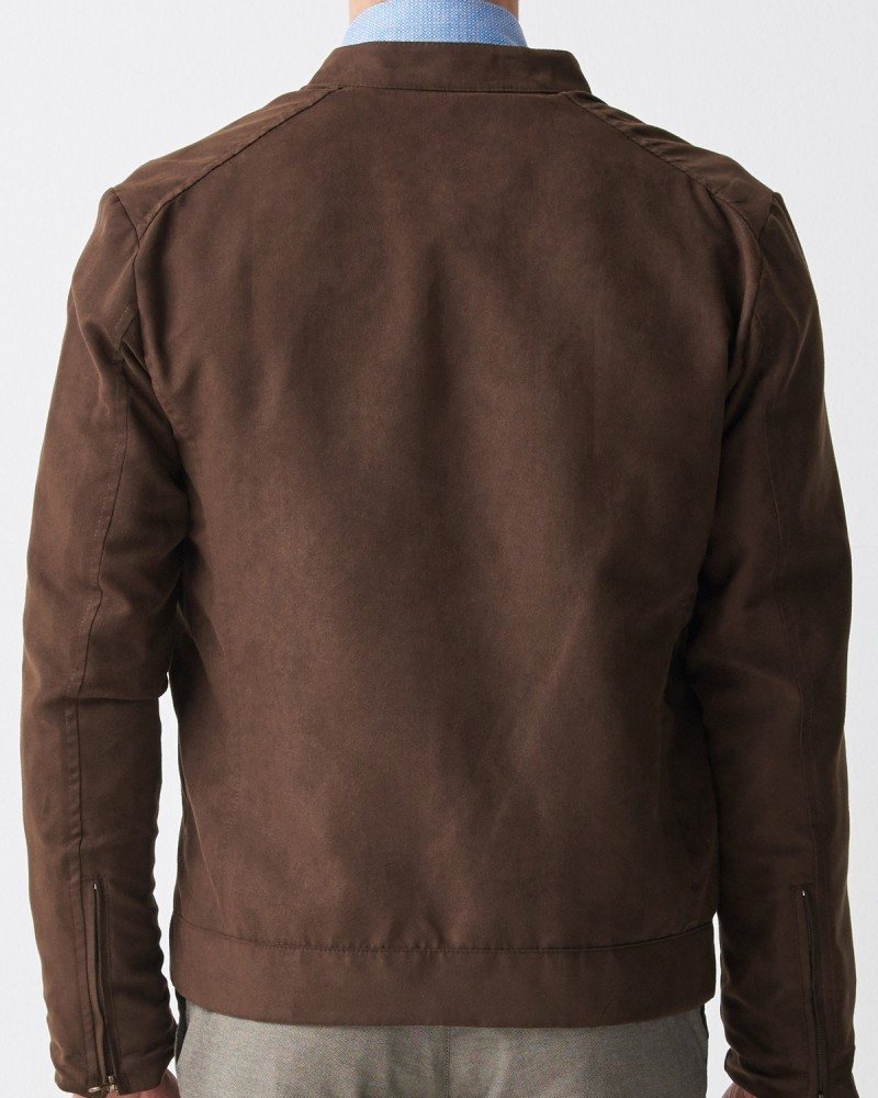 Brown Slim Fit Suede Jacket by Gentwith.com with Free Shipping