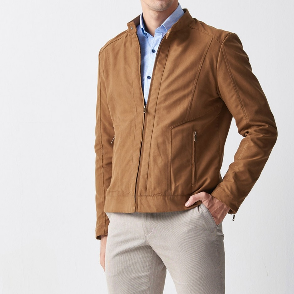Camel Slim Fit Suede Jacket by Gentwith.com with Free Shipping