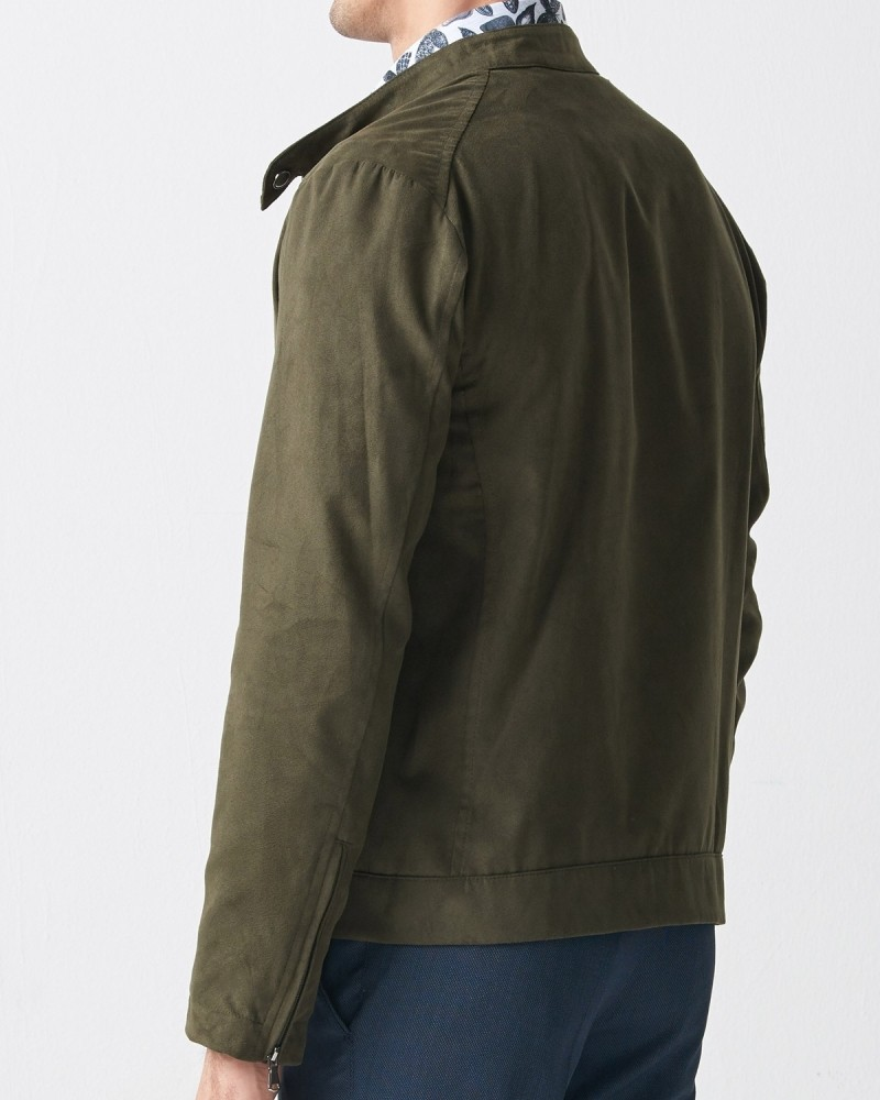 Khaki Slim Fit Suede Jacket by Gentwith.com with Free Shipping