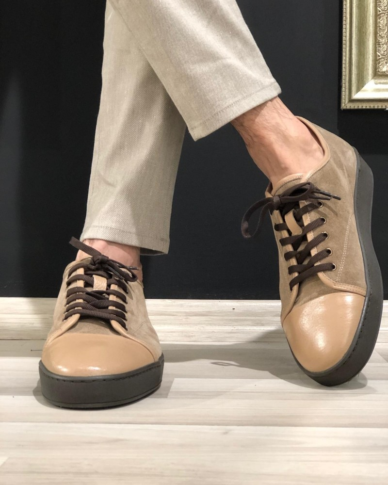 Beige Suede Sneakers by Gentwith.com with Free Shipping