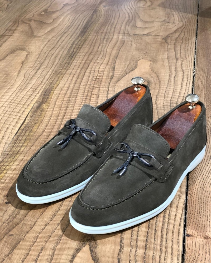 Khaki Suede Loafer by Gentwith.com with Free Shipping