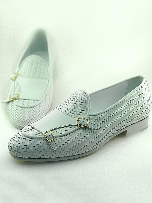White Handmade Calf Leather Bespoke Shoes by Gentwith.com with Free Shipping