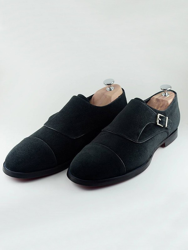 Black Handmade Suede Calf Leather Bespoke Shoes by