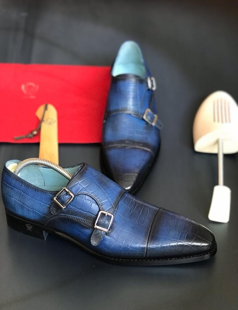 Blue Cap Toe Double Monk Strap for Men by GentWith.com with Free Worldwide Shipping