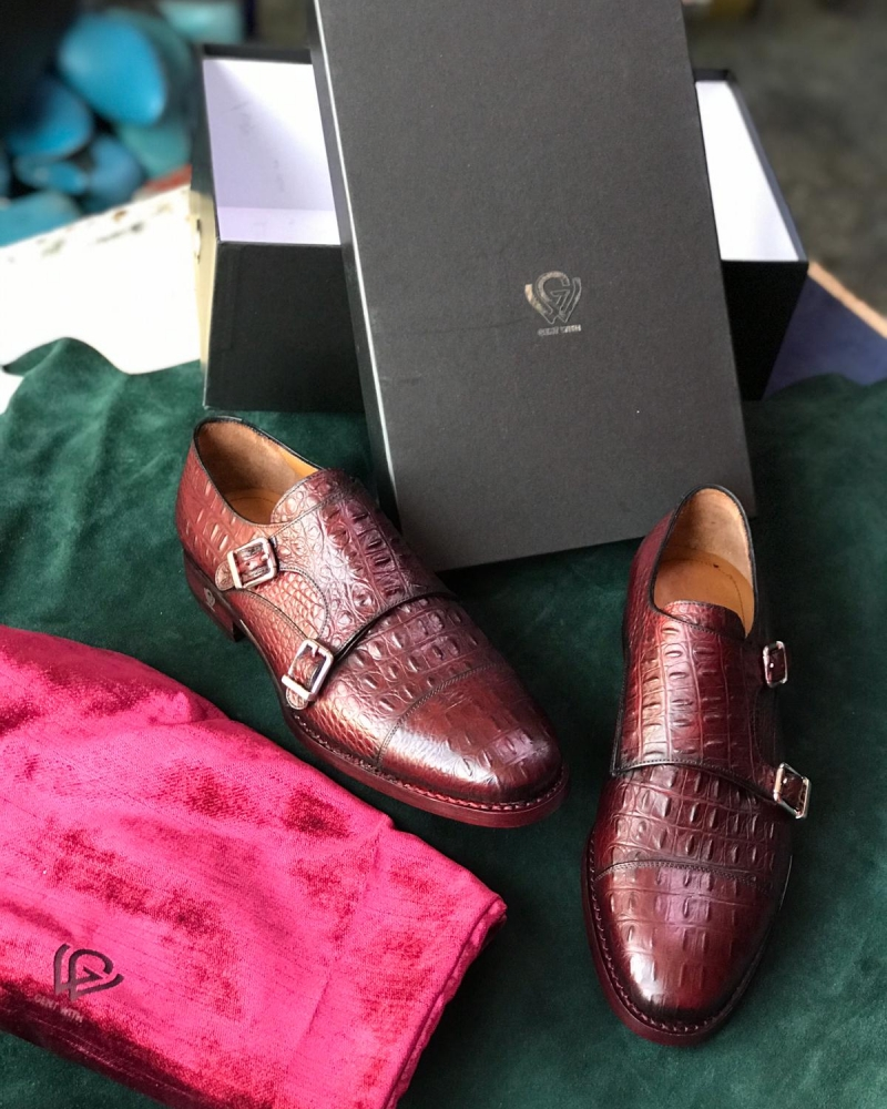 Handmade Brown Genuine Leather Monk Strap Shoes by GentWith.com with Free Worldwide Shipping