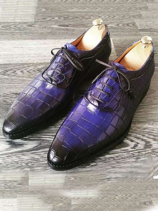 Blue Handmade Calf Leather Bespoke Shoes by